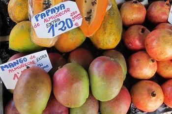 mangoes and papaya tropical fruits in granada