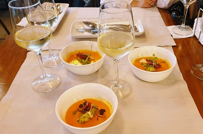white wine paired with avocado and mango salmorejo
